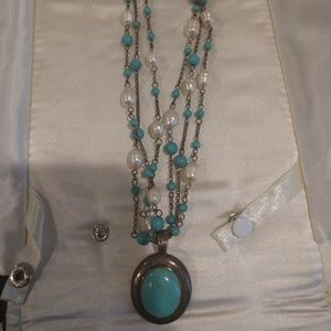 Sterling, genuine torquoise, and genuine pearl nec